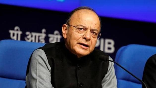 Finance minister Arun Jaitley during a press conference in New Delhi.(REUTERS)
