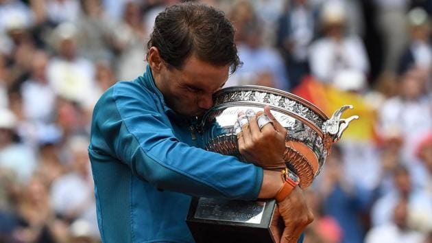 File image of Rafael Nadal with the French Open trophy.(AFP)
