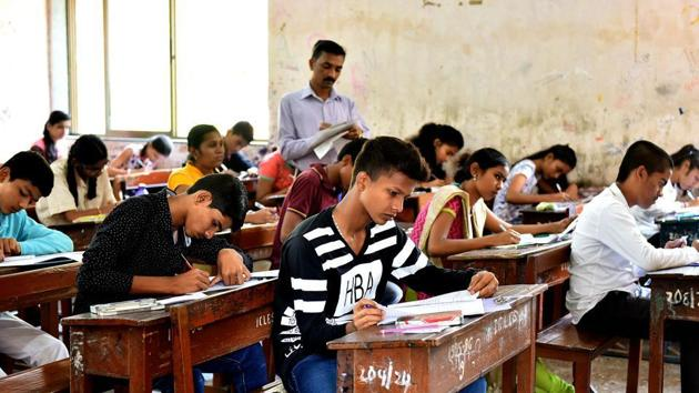 The MSBSHSE's secondary school certificate (SSC) examinations began on March 1. After a complaint from Samvad foundation, the board officials investigated and on Tuesday night lodged a complaint against two exam coordination centres in Bhiwandi.(Bachchan Kumar)