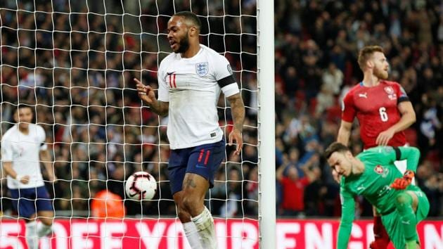 England's Raheem Sterling celebrates scoring their first goal.(Action Images via Reuters)