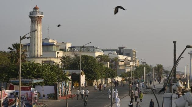 The Beach Road in Puducherry is popular with both locals and tourists and is the hub of social life.(Biplov Bhuyan/HT PHOTO)