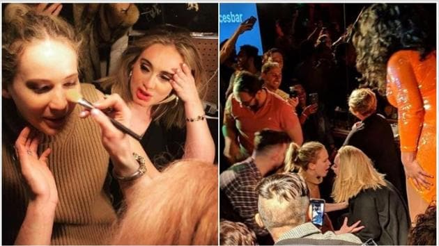 Jennifer Lawrence and Adele spent their Friday night at a gay bar in New York.(Instagram)