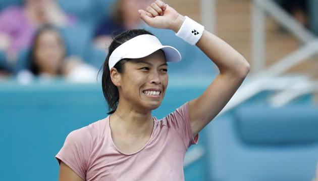 Su-Wei Hshieh of Chinese Taipei waves to the crowd after her match against Naomi Osaka of Japan.(USA TODAY Sports)