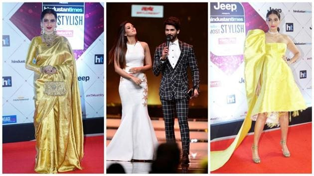 Rekha, Shahid and Mira Kapoor, and Sonam Kapoor at HT India's Most Stylish Awards.(HT Photo)