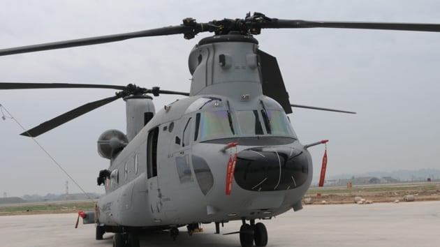 The Indian Air Force (IAF) received its first CH-47F (I) Chinook on February 10 at the Mundra port in Gujarat.(Keshav Singh/HT Photo)