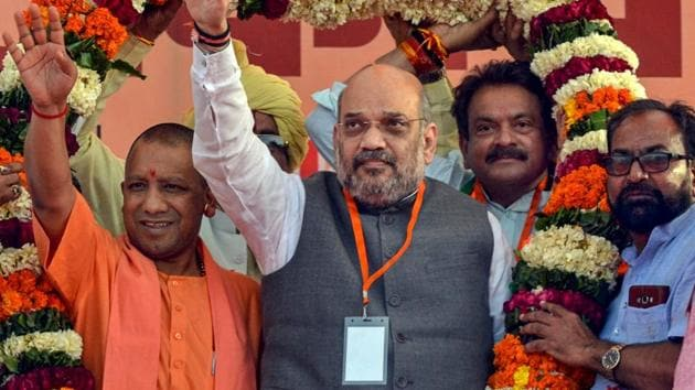 BJP national President Amit Shah with Uttar Pradesh Chief Minister Yogi Adityanath during an election rally in Agra, Sunday, March 24, 2019.(PTI)