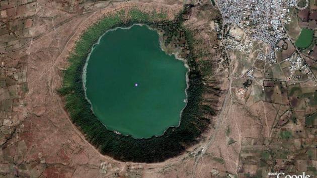 A satellite image of the Lonar crater-cum-lake.(File Photo)
