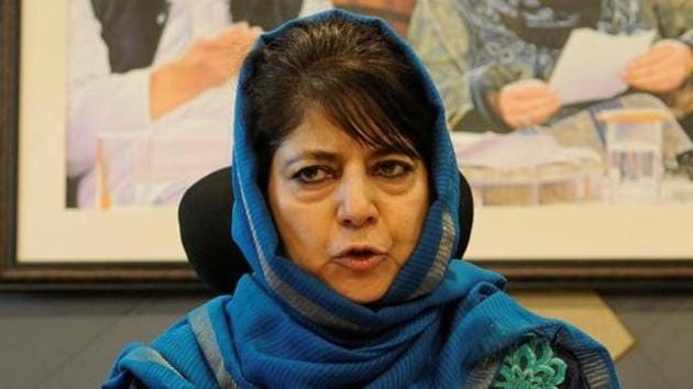 PDP president Mehbooba Mufti Monday said opening of Sharda Peeth temple in Pakistan occupied Kashmir (PoK) for Kashmiri Pandits can help India and Pakistan navigate the current impasse. Photo by Waseem Andrabi/ Hindustan Times)