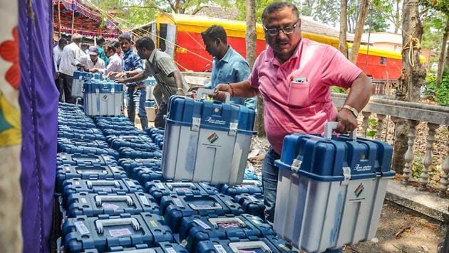 Election officials arrange the Verified Paper Audit Trail (VVPAT) to be carried to different constituencies ahead of the Lok Sabha elections 2019(PTI photo)