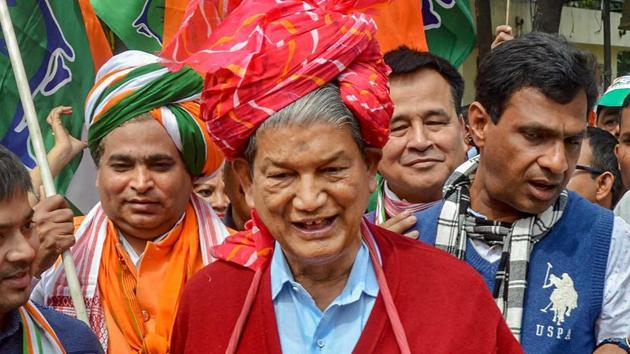 Congress's Harish Rawat, the former chief minister of Uttarakhand is a five-time member of Parliament and was the minister of water resources in the cabinet of Manmohan Singh during 2012-2014.(PTI)