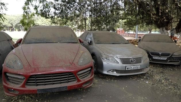 The embossed logos of the high-end vehicles have been found ripped off at the station property, while the vehicles gather dust at Shivajinagar police station(Rahul Raut/HT PHOTO)