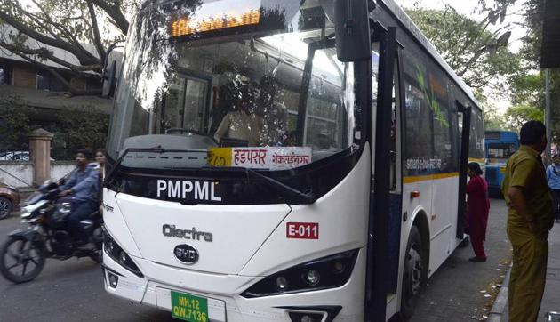The eco-friendly buses provide a high standard of comfort for commuters.(RAVINDRA JOSHI/HT PHOTO)