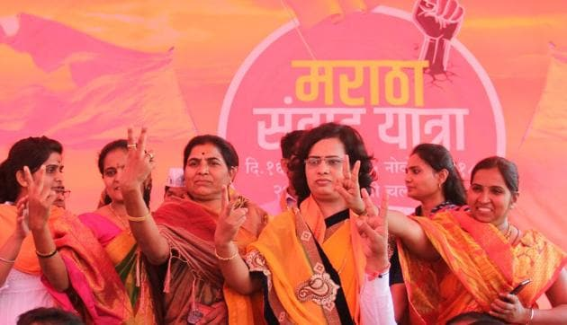 Members of Maratha community celebrate after Maharashtra Assembly unanimously passed a bill proposing 16 per cent reservation for Maratha community, Nov 29, 2018.(HT File Photo)