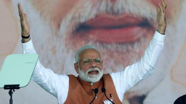 India's Prime Minister Narendra Modi gestures as he addresses an election campaign rally in Meerut in the northern Indian state of Uttar Pradesh, India, March 28, 2019. REUTERS/Adnan Abidi(REUTERS)