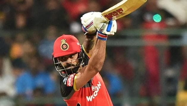 RCB batsman Virat Kohli plays a shot during the Indian Premier League 2019 (IPL T20) cricket match between Royal Challengers Bangalore (RCB) and Mumbai Indians (MI) at Chinnaswamy Stadium in Bengaluru(PTI)