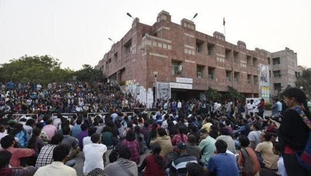 """The students are protesting against what they termed the """"exclusionary"""" online entrance exam system, mooted for carrying out admissions the coming academic year(Hindustan Times)"""