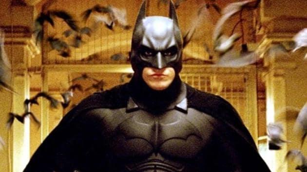 Christian Bale as the Dark Knight in a still from Batman Begins.
