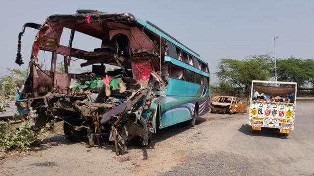 Nine people were killed and at least 30 were injured when a private double decker bus crashed into a truck on Yamuna Expressway in Rabupura on early Friday morning. The bus was on its way from Jalaon district to Delhi. (Virendra Singh Gosain / HT Photo)