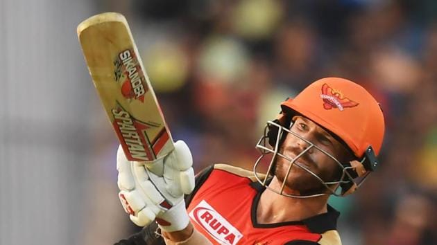 Sunrisers Hyderabad's David Warner reacts during their opening IPL match against KKR.(AFP)