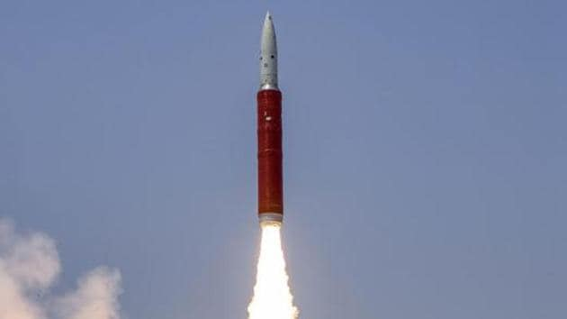 Ballistic Missile Defence (BMD) Interceptor missile being launched by Defence Research and Development Organisation (DRDO) in an Anti-Satellite (A-SAT) missile test 'Mission Shakti' engaging an Indian orbiting target satellite in Low Earth Orbit (LEO) in a 'Hit to Kill' mode from Abdul Kalam Island, Odisha, Wednesday, March 27, 2019.(PTI)