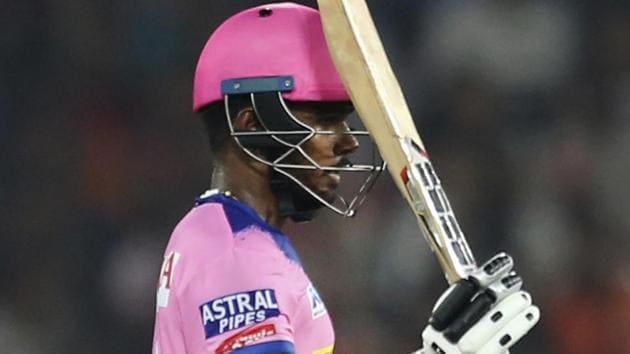 Rajasthan Royals' Sanju Samson raises his bat to celebrate his century.(AP)