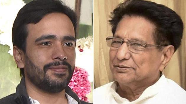 Rashtriya Janata Dal chief Ajit Singh (right) and his son Jayant Chaudhary are contesting the 2019 Lok Sabha elections from the Muzaffarnagar and Baghpat constituencies respectively.(HT Photos)