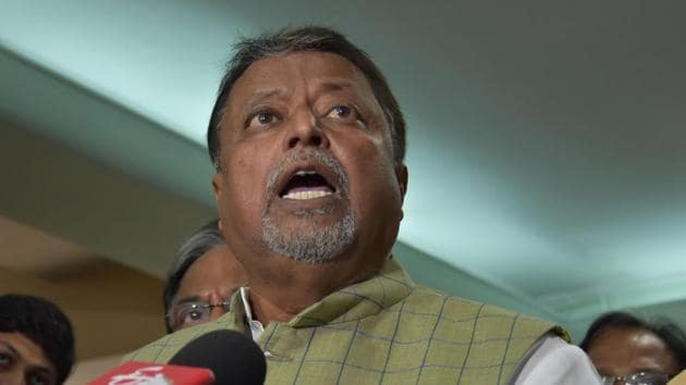 BJP leader Mukul Roy addresses the media after meeting with election commission's special central police observer Vivek Dube in Kolkata on Monday.(ANI)