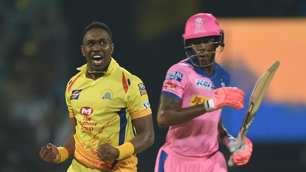 Chennai: CSK player Dwayne Bravo celebrating after win the match during the Indian Premier League 2019 (IPL T20) cricket match between Chennai Super Kings (CSK) and Rajasthan Royals (RR)(PTI)