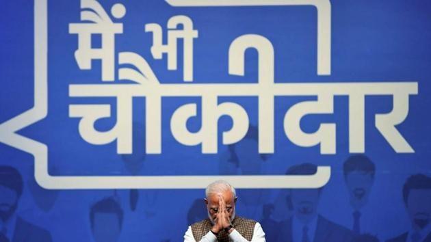 "Prime Minister Narendra Modi gestures during ""Main Bhi Chowkidar"" Programme in New Delhi on March 31.(PTI Photo)"