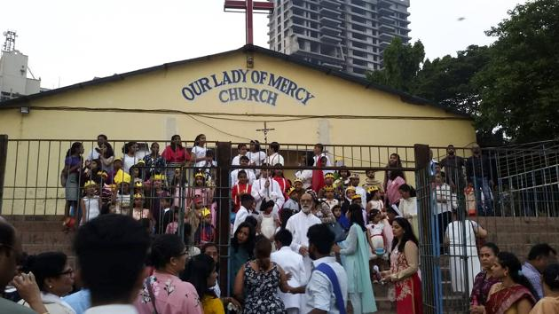 By burying the body in the church yard, members of the Our Lady of Mercy Church violated municipal and town planning rules. Church members said they had no option but to break the law.(HT Photo)