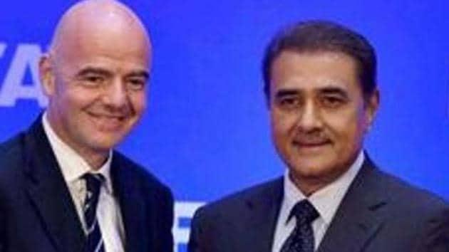 File image of FIFA President Gianni Infantino and AIFF President Praful Patel (R)(PTI)