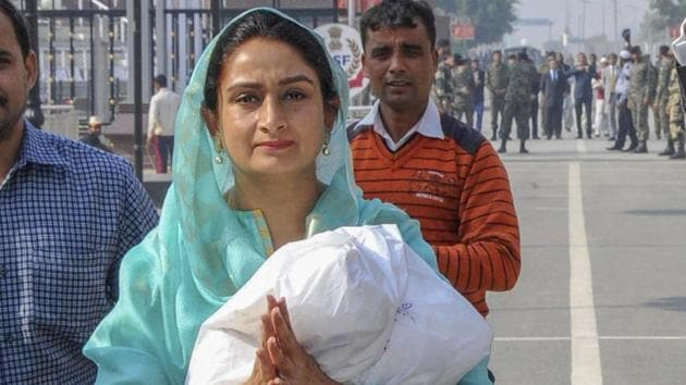The Shiromani Akali Dal's Harsimrat Kaur, the Union food processing industries minister, is the sitting member of Parliament from Bathinda. She is the wife of SAD president and former deputy chief minister Sukhbir Singh Badal.(PTI file photo)