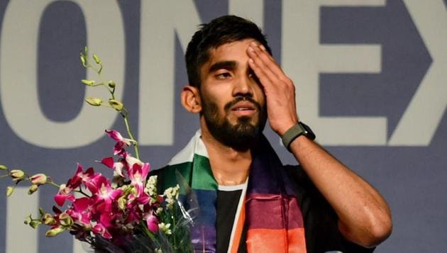 Kidambi Srikanth reacts after losing the final against Viktor Axelsen.(PTI)
