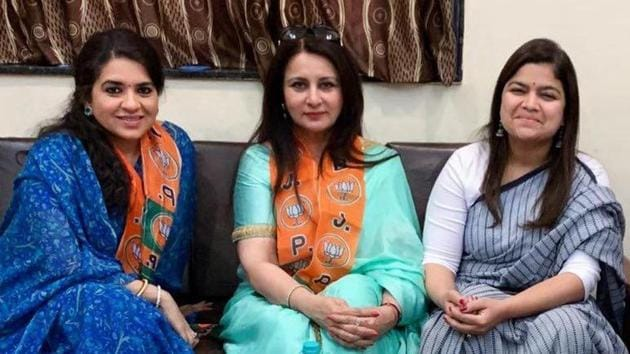 Shaina NC, Poonam Dhillon and Poonam Mahajan.(HT Photo)