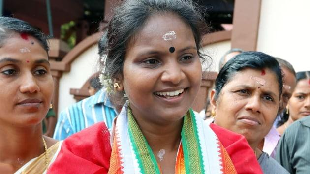 Ramya Haridas, who belongs to the Scheduled Caste community, said she was really hurt by Vijayaraghavan's remarks.(Vivek Nair/ HT Photo)