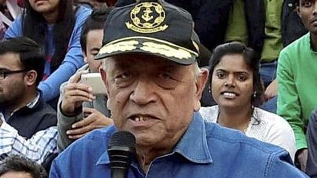 """Admiral (retd.) L Ramdas has said that he would approach the Election Commission with complaint against Uttar Pradesh Chief Minister Yogi Adityanath over his """"Modiji ki sena"""" remark at a public rally.(PTI file)"""