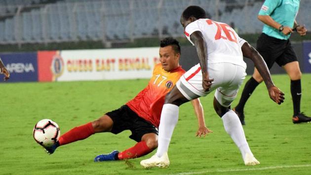 I-League match action of East Bengal vs Aizawl FC at Salt Lake Stadium in Kolkata.(ANI)