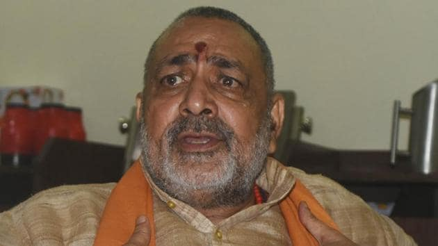 Union minister Giriraj Singh at the office in Begusarai from where he is contesting the Lok Sabha elections.(HT PHOTO)