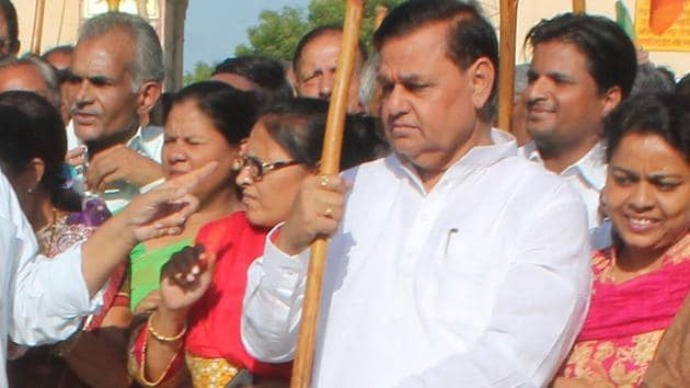 Ramcharan Bohara, the sitting MP from Jaipur Lok Sabha seat, has been fielded again by the BJP from this constituency.(HT Photo)