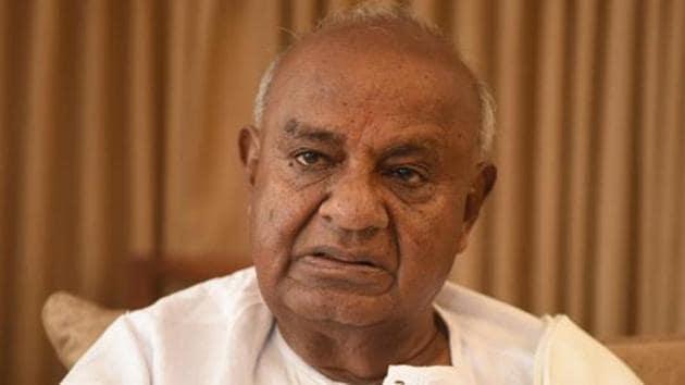 JD(S) chief HD Deve Gowda said Narendra Modi has the idea, to make this entire country a Hindu Rashtra,(Arijit Sen/HT PhotoJD)