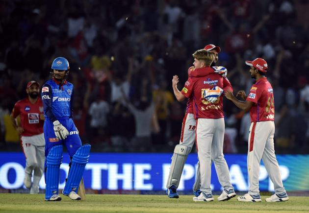 Mohali: Kings XI Punjab (KXIP) player Sam celebrates after dismissing DC's Sandeep Lamichhane during the Indian Premier League 2019 (IPL T20) cricket match between Delhi Capitals (DC) and Kings XI Punjab (KXIP) at I.S Bindra Stadium in Mohali, Tuesday,April 2, 2019(PTI)