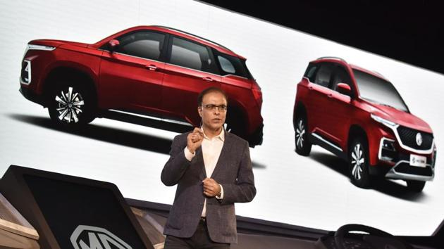 MG Motor India President and Managing Director Rajeev Chaba announces the launch of upcoming SUV 'MG Hector' in India by mid-2019 at Aerocity, in New Delhi on April 2.