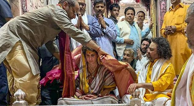 Congress General Secretary UP-East Priyanka Gandhi Vadra paying obeisance at Kashi Vishwanath Temple, in Varanasi.(PTI)