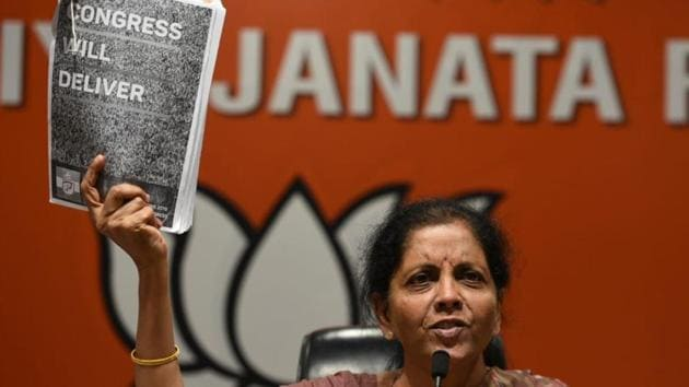 Union defence minister Nirmala Sitharaman claimed on Wednesday that the Congress's promise in its manifesto to amend the AFSPA was aimed at weakening the armed forces.(Sonu Mehta/HT Photo)