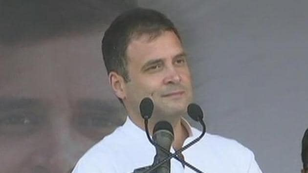 Congress president Rahul Gandhi on Wednesday promised special status to states in northeast and an industrial policy for the northeastern region.(ANI/Twitter)