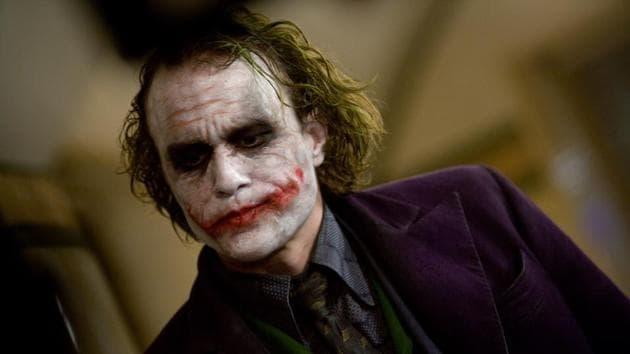 Heath Ledger as the Joker in a still from the Dark Knight.