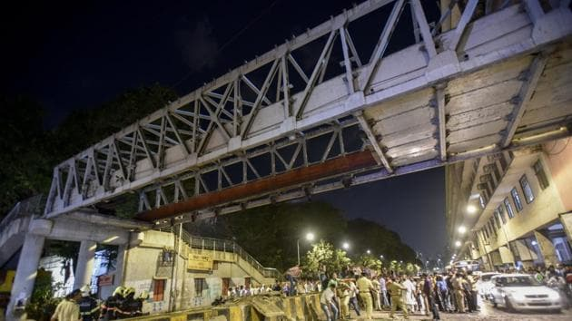 On March 14, six people were killed and 31 injured when a portion of the Himalaya foot overbridge (FoB) near Chhatrapati Shivaji Maharaj Terminus (CSMT) collapsed.(HT FILE)