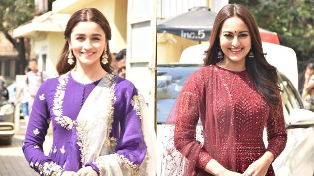 Alia Bhatt and Sonakshi Sinha appeared in anarkali suits at Kalank trailer launch.(Varinder Chawla)