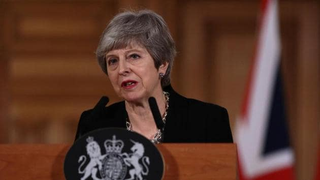 British Prime Minister Theresa May gives a news conference after a cabinet meeting to discuss alternative Brexit options vote, outside Downing Street, London, Britain April 2, 2019.(REUTERS)