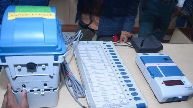 Ghaziabad India - March 14, 2019: A view of an Electronic Voting Machine (EVM) and Voter verifiable paper audit trail (VVPAT), at DM office, in Ghaziabad, India, on Thursday, March 14, 2019. The members of the federation of association of apartment owners will request contesting candidates to give affidavits which will include time line of the works which the candidate promises in their area.(Sakib Ali / Hindustan Times)